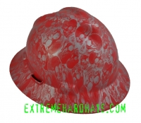 Extreme Hardhats Red Silver Skulls Cool  Hard Hat